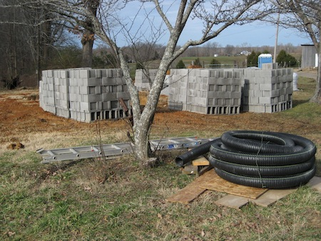pallets of blocks for the walls